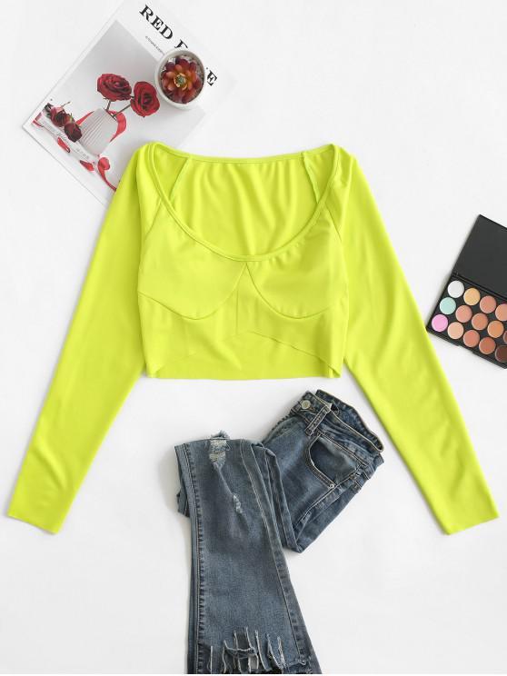 online Raglan Sleeve Scoop Neck Crop T-shirt - GREEN M