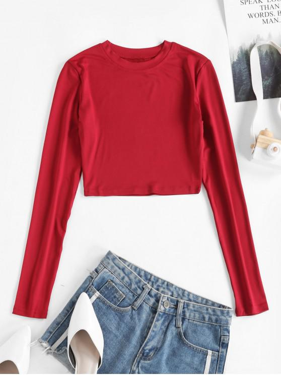affordable Long Sleeves Crop Solid Basic Tee - RED XL