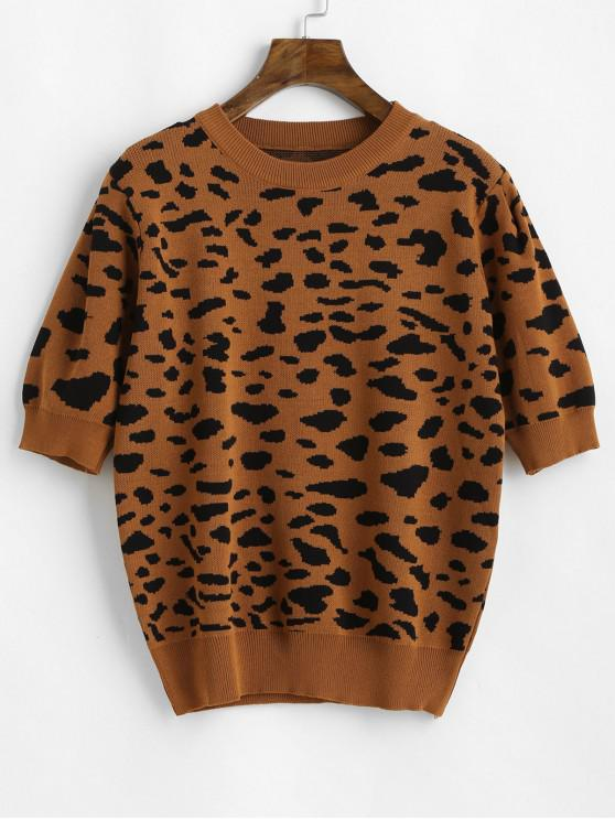 shop Puff Sleeve Leopard Sweater - BROWN ONE SIZE