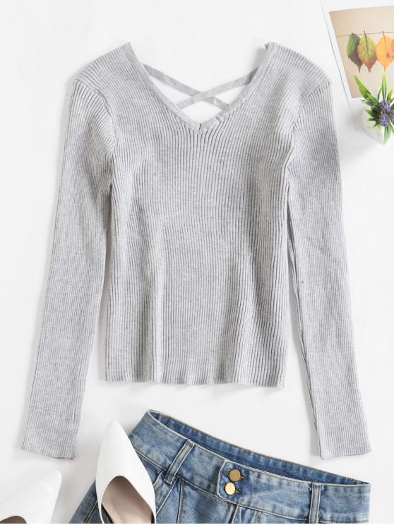 affordable V Neck Criss Cross Solid Sweater - GRAY ONE SIZE