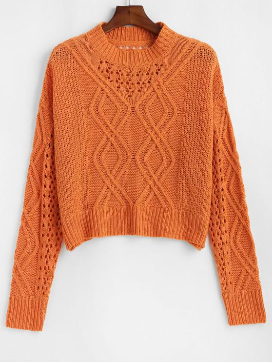 hot Drop Shoulder Open Knit Crew Neck Sweater - ORANGE ONE SIZE