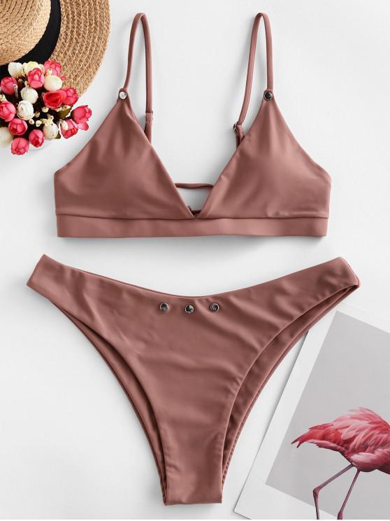 online ZAFUL Tie Studded Bikini Swimsuit - ORANGE SALMON M