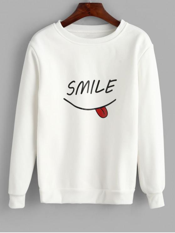 best Letter Graphic Crew Neck Sweatshirt - WHITE L