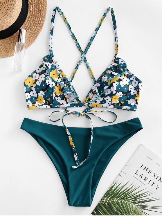ZAFUL Bikini de Criss Cross con Estampado de Flores con Volantes - Azul Verdoso S