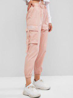 Flap Pocket Embroidered High Rise Jogger Pants - Pink M