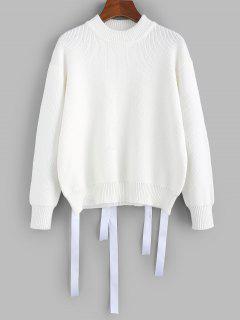 ZAFUL Drop Shoulder Ribbon Embellished Jumper Sweater - White L