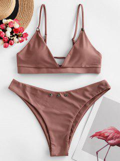 ZAFUL Tie Studded Bikini Swimsuit - Orange Salmon M