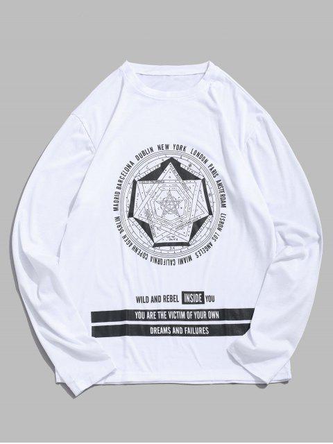Modelo de estrella Carta completa mangas de la camiseta - Blanco L Mobile