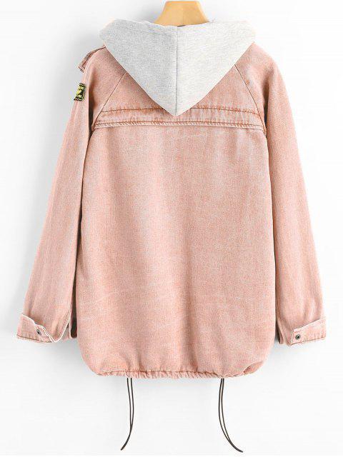 buy Button Up Denim Jacket and Hooded Vest - PIG PINK L Mobile