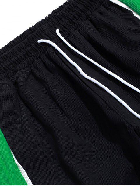 信打印Colorblock拼接口袋慢跑褲 - 黑色 3XL Mobile