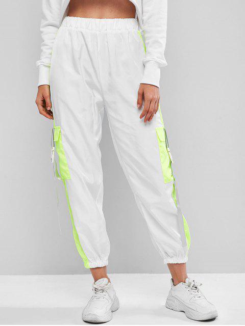 Bolsillos Aleta regulable hebilla de Colorblock del basculador de pantalones - Blanco S Mobile