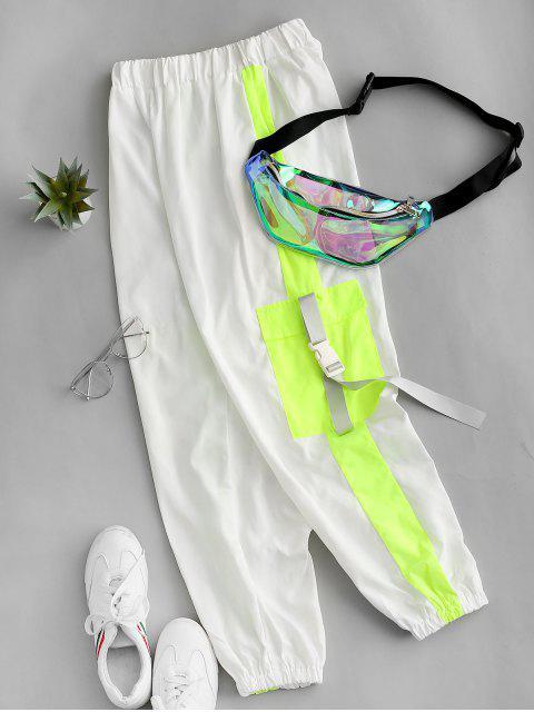 Bolsillos Aleta regulable hebilla de Colorblock del basculador de pantalones - Blanco M Mobile