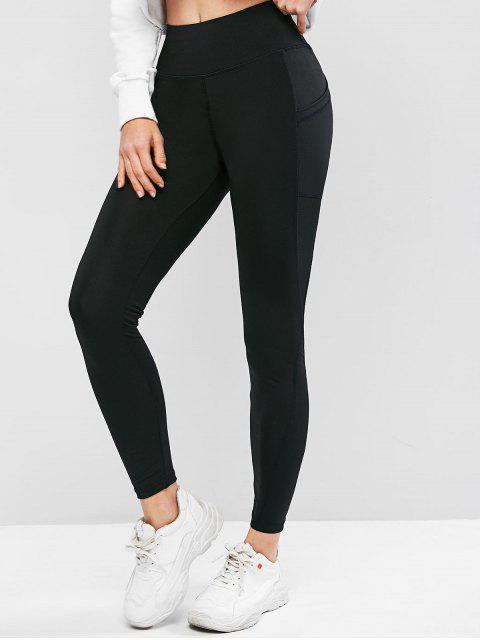 online High Waisted Skinny Plain Leggings - BLACK S Mobile