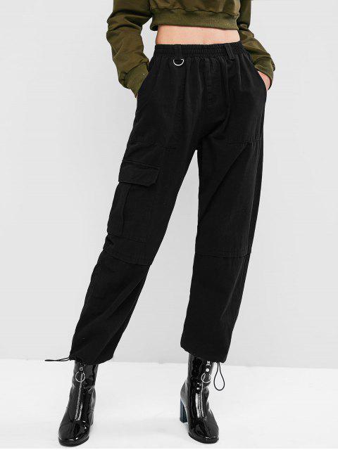 ZAFULウエストゴム切り替え巾着ジョガーパンツ - ブラック XL Mobile