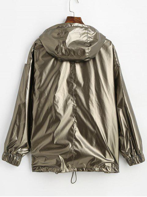 sale Hooded Colorblock Metallic Windbreaker Jacket - CHAMPAGNE GOLD S Mobile