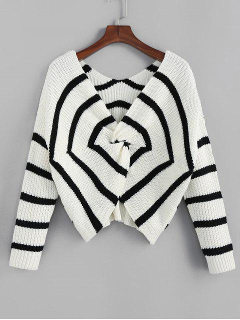 sale ZAFUL Twisted Spider Web Striped Drop Shoulder Sweater - MULTI M Mobile