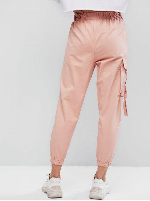 latest Flap Pocket Embroidered High Rise Jogger Pants - PINK L Mobile