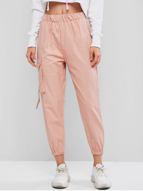 fancy Flap Pocket Embroidered High Rise Jogger Pants - PINK M Mobile