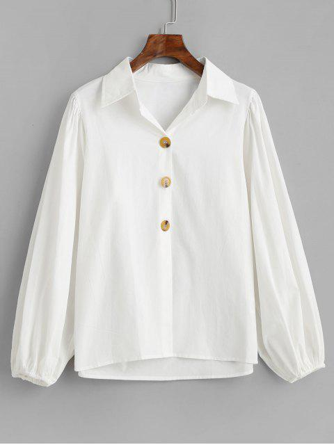 womens Cotton Lantern Sleeve Shirt - WHITE M Mobile