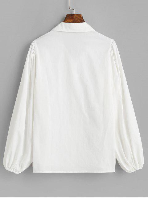 sale Cotton Lantern Sleeve Shirt - WHITE S Mobile