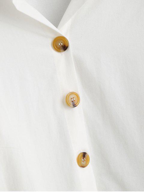 women Cotton Lantern Sleeve Shirt - WHITE L Mobile