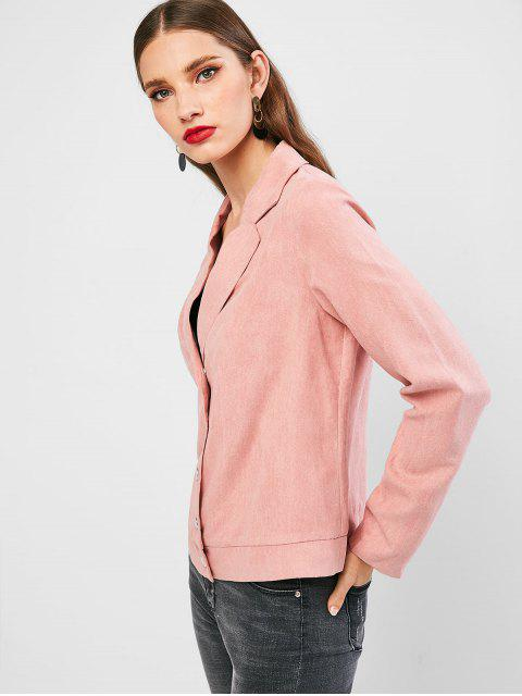 fancy ZAFUL Solid Snap Button Faux Suede Blazer - PINK M Mobile
