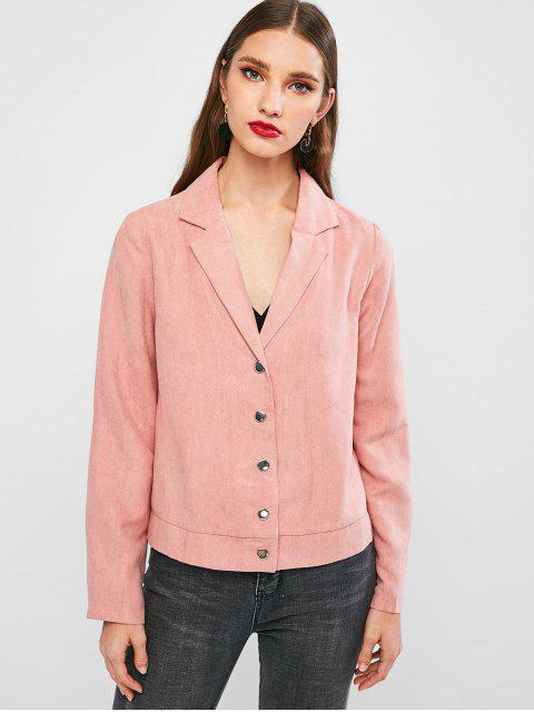 outfits ZAFUL Solid Snap Button Faux Suede Blazer - PINK L Mobile