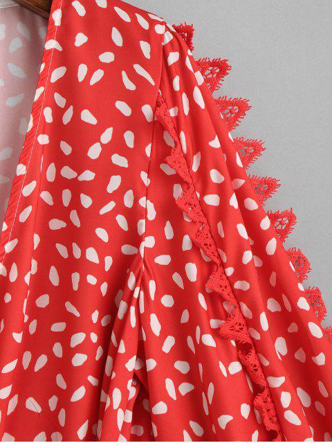 latest Polka Dot Lantern Sleeve Wrap Blouse - MULTI M Mobile