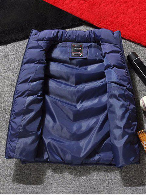 ladies Stand Collar Front Zip Pockets Puffer Waistcoat - DEEP BLUE XL Mobile