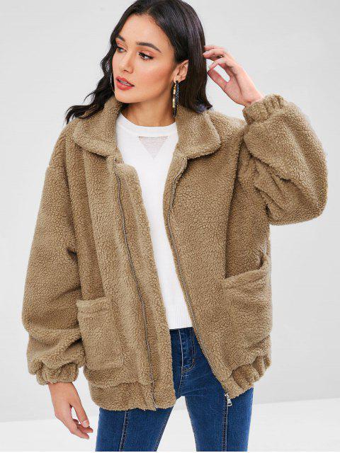 Zip mullido abrigo de invierno de peluche - Oso Café M Mobile