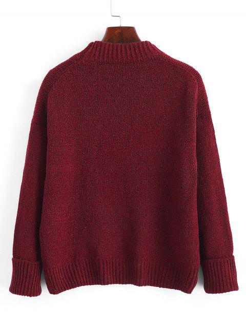 trendy Crew Neck Heathered Loose Sweater - RED WINE ONE SIZE Mobile