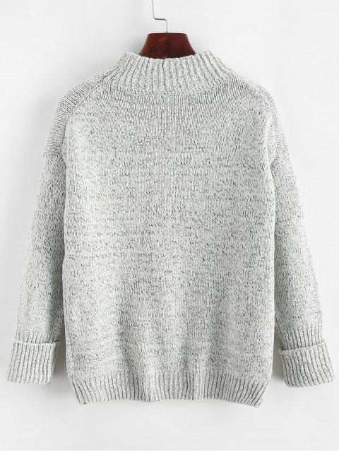 chic Crew Neck Heathered Loose Sweater - LIGHT GRAY ONE SIZE Mobile