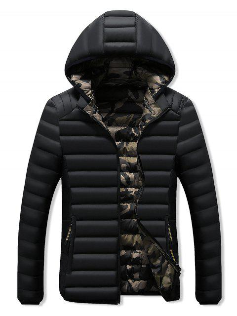ladies Camo Lined Hooded Down Jacket - BLACK M Mobile