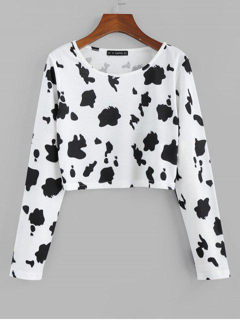 hot ZAFUL Printed Crop Top - WHITE S Mobile