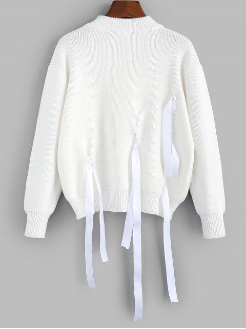ZAFUL Fallschulter Ribbon Verschönerter Pullover - Weiß S Mobile