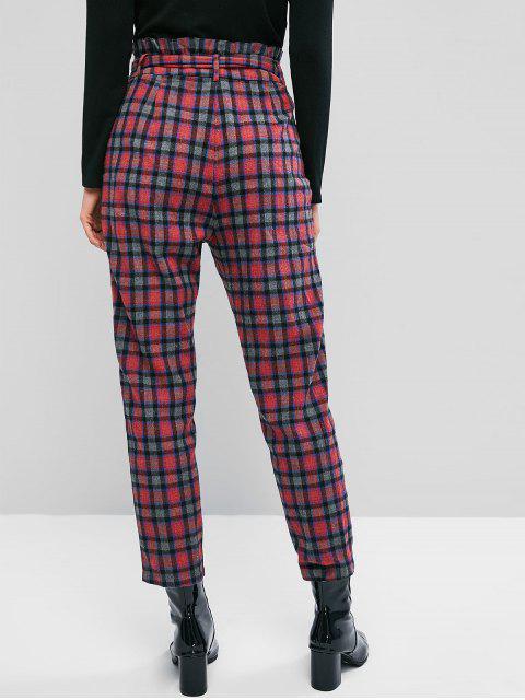 ZAFUL tela escocesa de impresión Pantalones bolsillos dobles paperbag - Multicolor XL Mobile