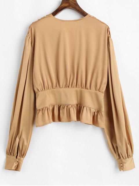 fashion Ruffle Lantern Sleeve Satin Blouse - CHAMPAGNE GOLD S Mobile