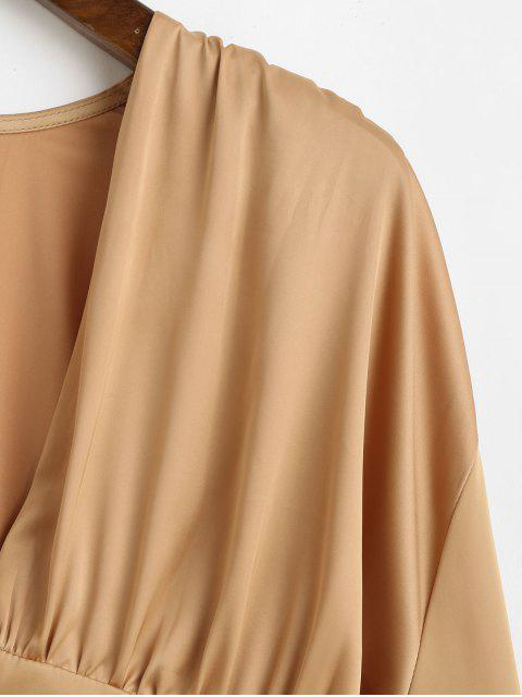 chic Ruffle Lantern Sleeve Satin Blouse - CHAMPAGNE GOLD M Mobile