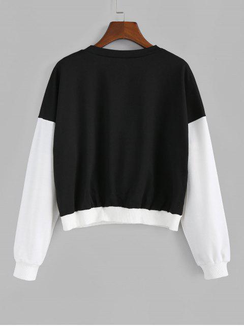 de punto elástico ZAFUL la camiseta de dos tonos de acabado - Negro S Mobile