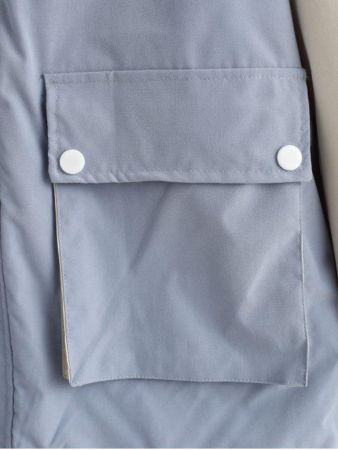 Veste à Capuche en Blocs de Couleurs avec Poche à Rabat - Bleu-gris M Mobile