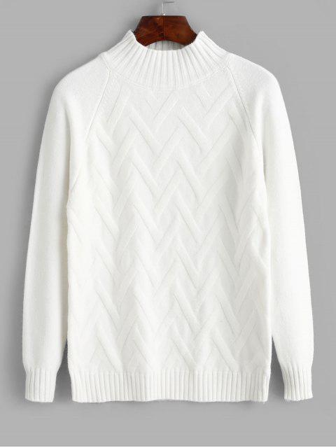 Sólido Pullover Medio Cuello del raglán de la manga del suéter - Blanco Talla única Mobile