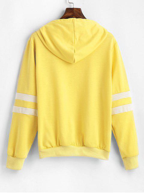 chic Planet Graphic Drawstring Basic Pullover Sweatshirt - YELLOW S Mobile