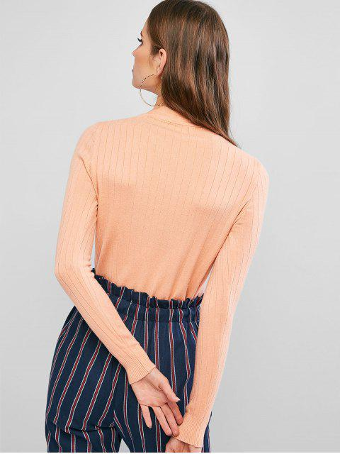 outfits Bow Tie V Neck Mock Button Sweater - TANGERINE ONE SIZE Mobile