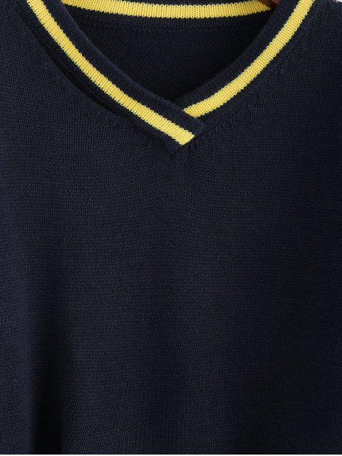 ladies ZAFUL V Neck Drop Shoulder Frayed Hem Sweater - DENIM DARK BLUE L Mobile