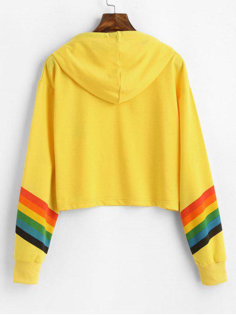 ZAFUL Regenbogen Streifen Fallschulter Graphik Hoodie - Gelb M Mobile