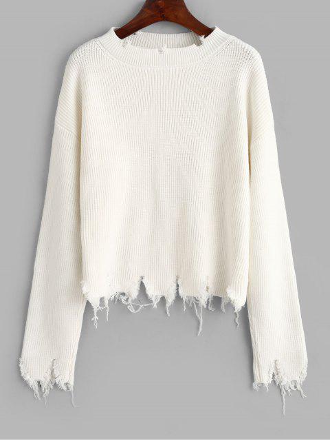 剝去固體寬鬆毛衣 - 白色 One Size Mobile