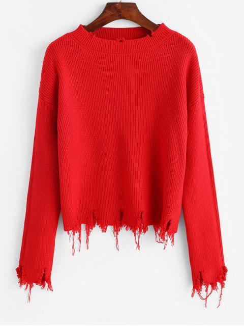 Gerippter Weiter Pullover - Rot Eine Größe Mobile