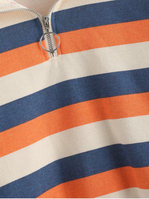 Drop Schulter Streifen Halber Reißverschluss Sweatshirt - Multi M Mobile