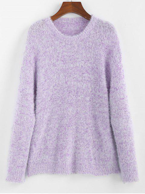 ZAFUL Fallschulter Fuzzy Pullover - Mauve L Mobile