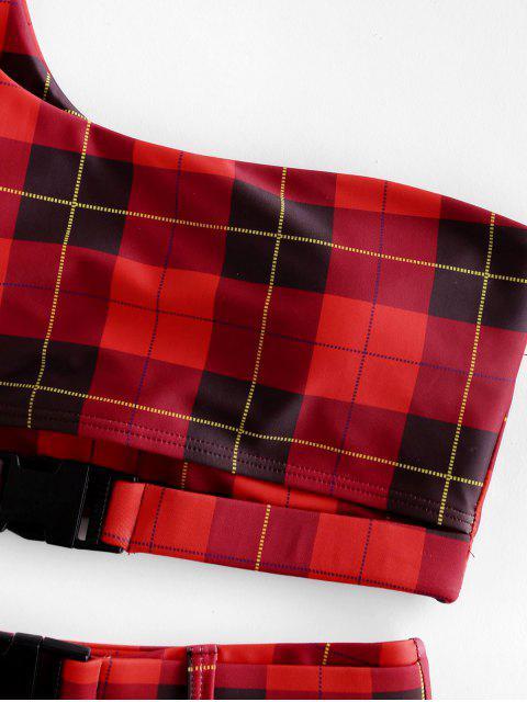 ZAFUL empuje la hebilla de la tela escocesa de un hombro de baño tankini - Rojo Lava M Mobile
